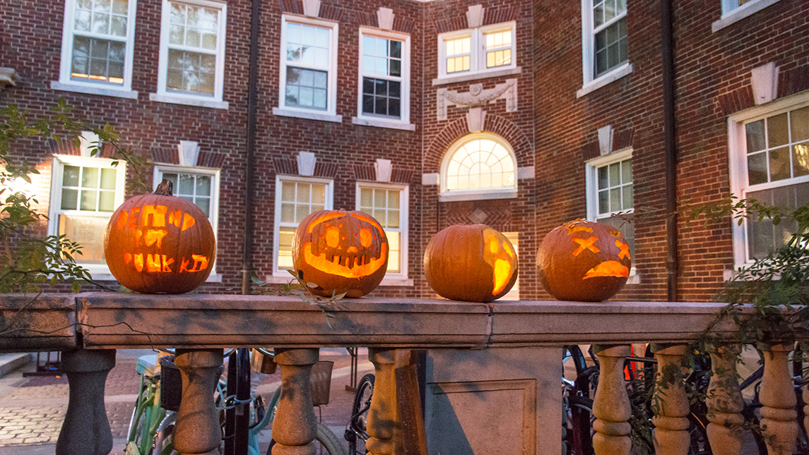 Pumpkins in front of Mary Foust Residence Hall