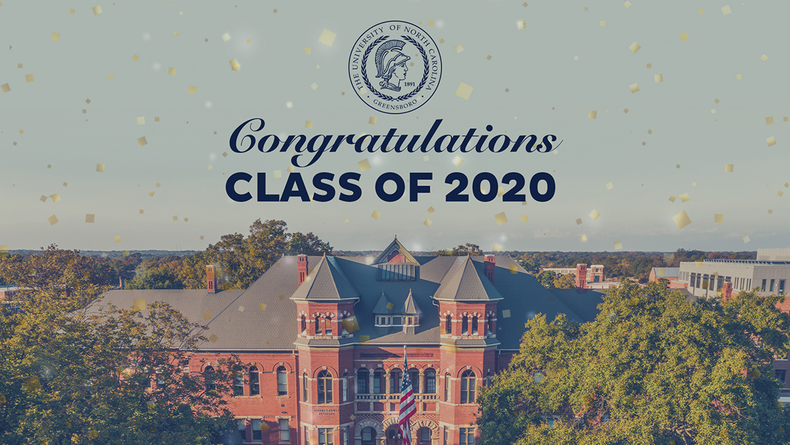 """Aerial view of Foust Building with """"Congraulations, Class of 2020"""" text and university seal"""