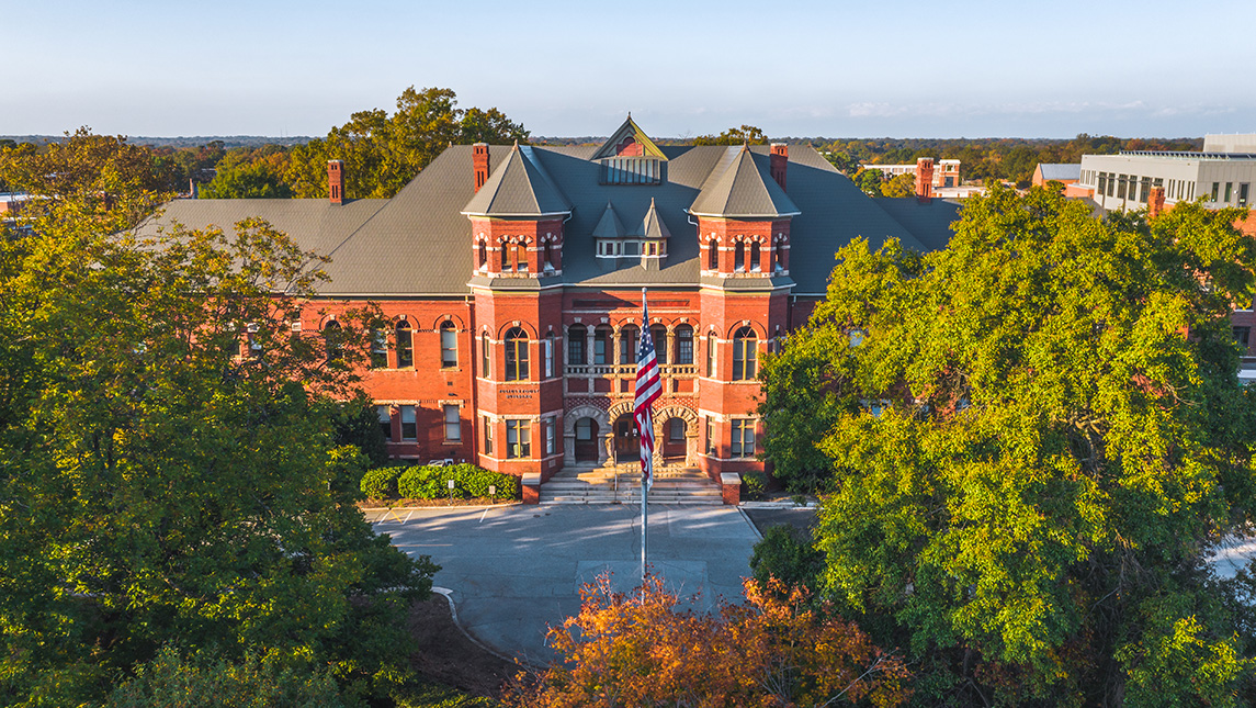 Aerial view of Foust Building during fall