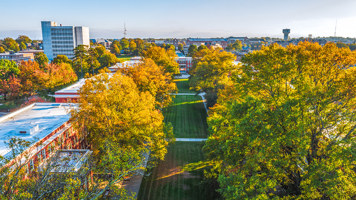 Aerial view of quad on campus during fall