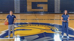 Composite photo of coaches on basketball court