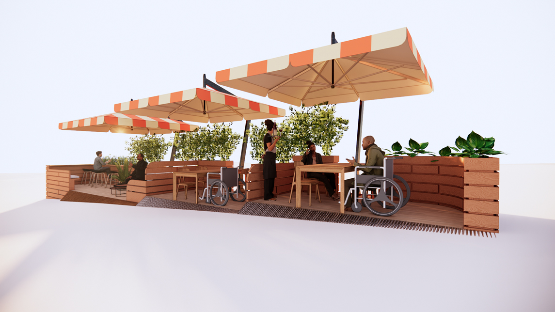 cafe patio designed for social distancing