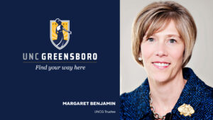 Graphic with UNCG logo and head shot of Margaret Benjamin