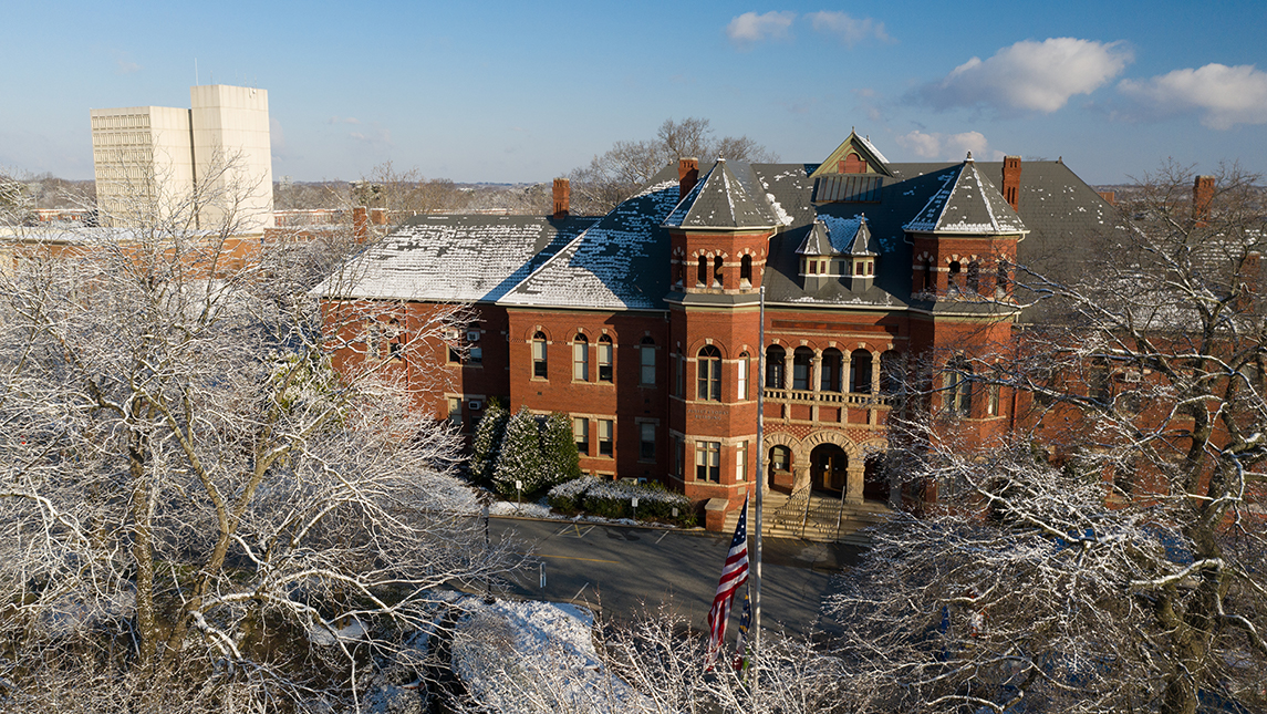 Foust Building in the winter