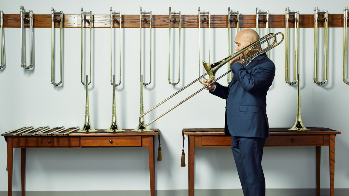 Trombonist Joseph Alessi, photography by S.E. Shires