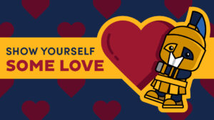 "Cartoon Spiro holding a heart with the message ""show yourself some love"""