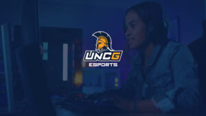 Graphic of esports logo with photo of woman on computer