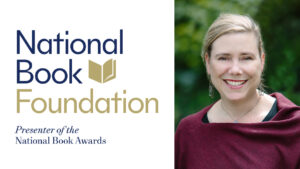 woman with National Book Foundation logo