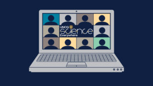 Graphic of laptop with Science Everywhere logo and web meeting