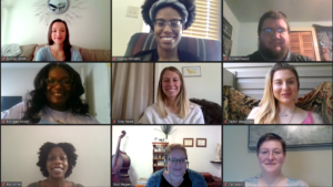 Graduate assistant coaches of the Academic Success Coaching Program smile in the gallery view of a Zoom meeting