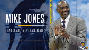 "Graphic with text that says ""Mike Jones Head Coach/Men's Basketball"" with photo of Mike Jones and photo of Spartan statue on campus"