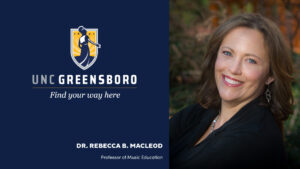 Graphic with UNCG logo and head shot of Dr. Rebecca MacLeod