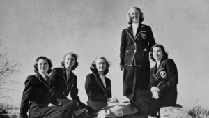 Archival black and white photo of Woman's College students