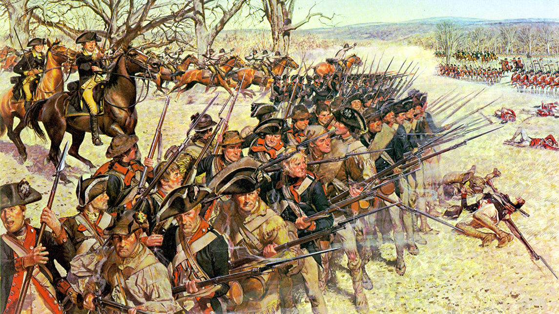 Image of painting of troops with guns in battle
