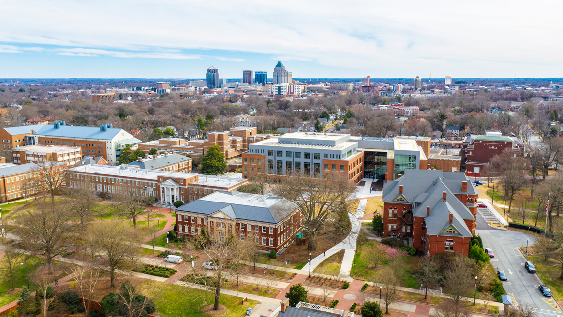 aerial view of campus and downtown