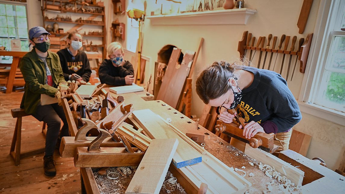 Students working in woodshop