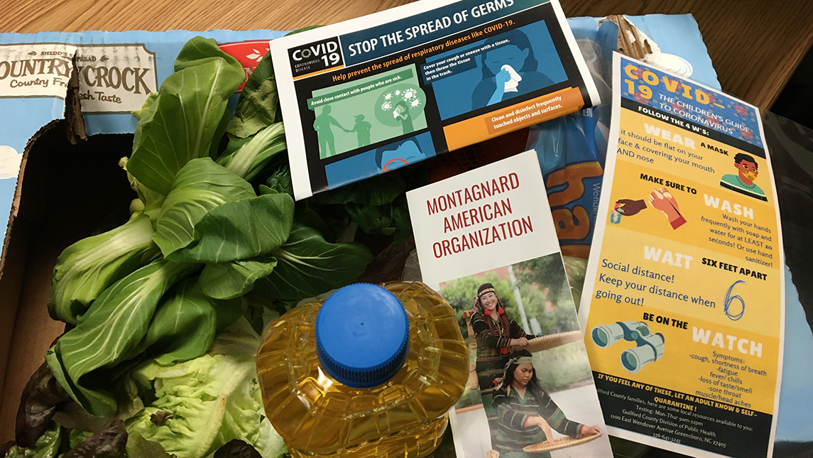 Fresh vegetables, cooking oil, COVID-19 guidelines infographics in a box