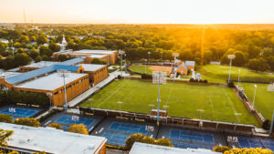 Aerial photo of Coleman, soccer field, and tennis courts