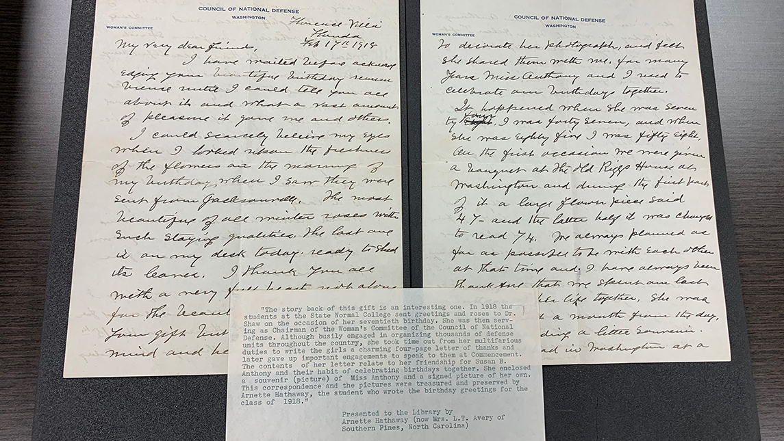 State Normal students' letter to Dr. Anna Howard Shaw for her birthday