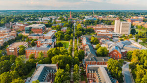 aerial shot of College Avenue and UNCG's campus in the fall