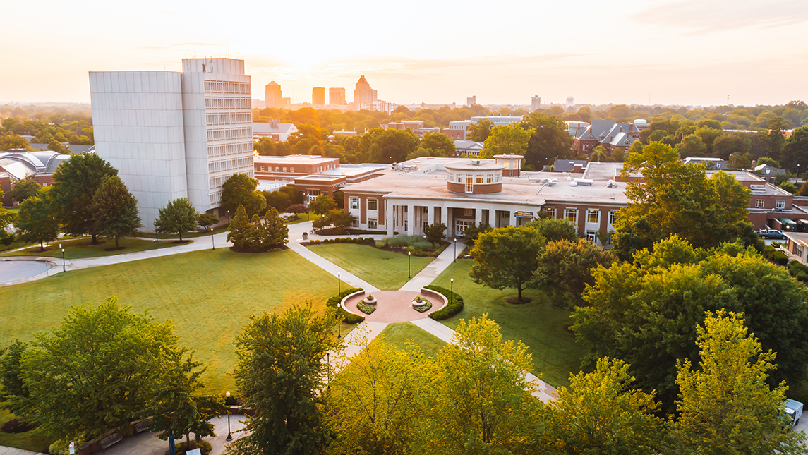 aerial photo of central campus, the EUC and the Jackson Library