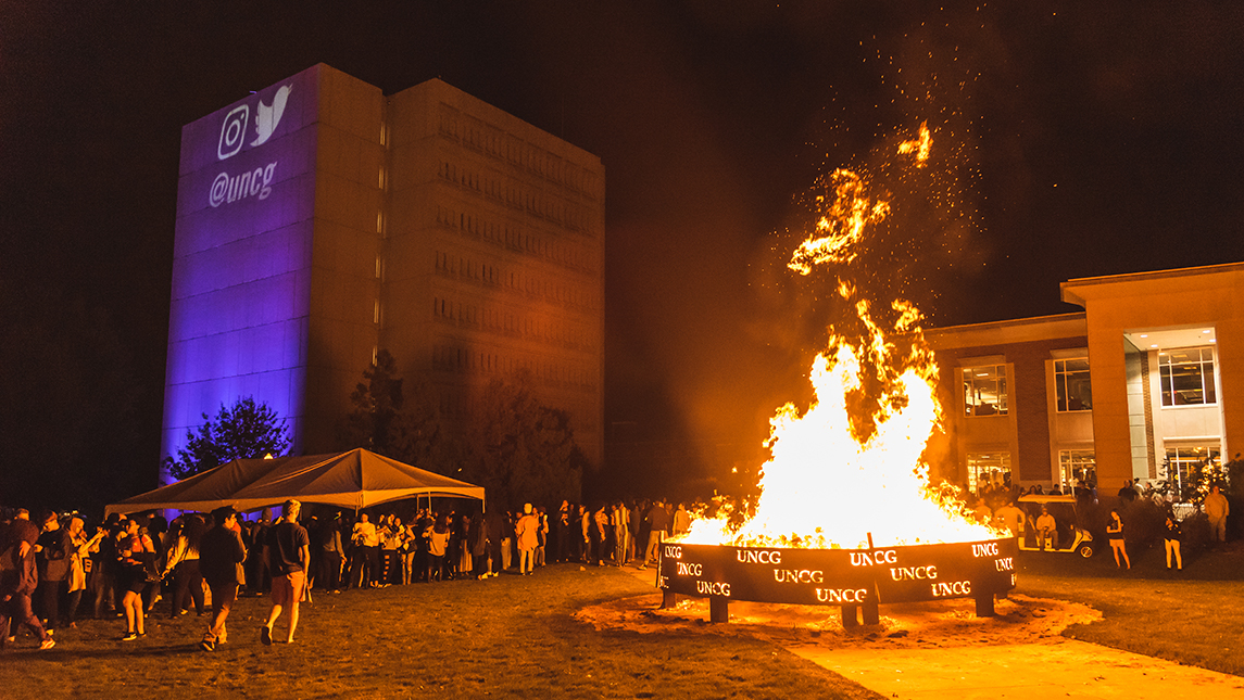 bonfire in the middle of campus